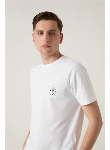 Damat Damat Beyaz Çizgili Baskılı T-Shirt Beyaz